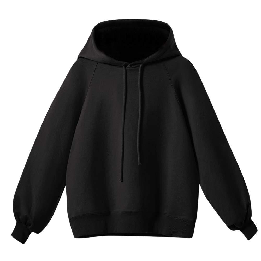 Tantisy ♣↭♣ Women's Plus Size Solid Sweatshirt Tops Autumn Winter Classic Plain Hoodie Blouses Multicolor Multi-Code Black