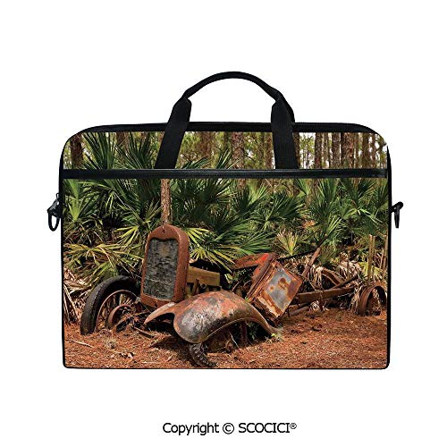 Personalized Laptop Bag 14-15 Inch Messenger Bag Rusty Tractor Mule Truck Deep in Forest with Tropical Palm Trees Image Shoulder Sleeve Case Tablet Briefcase ()