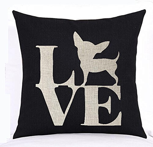 Lovely cute animal Chihuahua dog crab Cotton Linen Square Throw Waist Pillow Case Decorative Cushion Cover Pillowcase Sofa 18x18 inches (4)