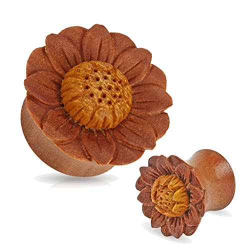 Pair of Organic Sawo Lotus Flower Wood Hand Carved Ear Plugs Gauges 0g 00g 1/2 5/8 (0g) by Zaya Body Jewelry (Image #1)