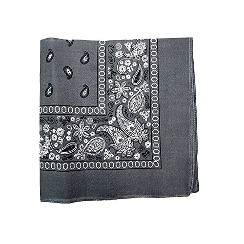 Pack of 6 X Large Paisley 100% Cotton Double Sided Printed Bandana - 27 x 27 inches (Grey)