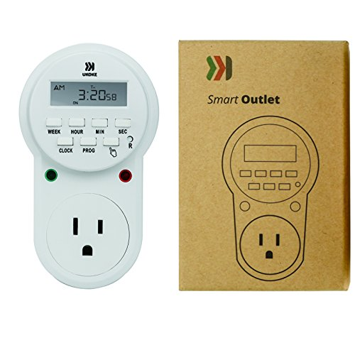 Timer Outlet, UKOKE 7 Day Electrical Timer Light Switch, 120V Appliance Timer with Outlet, Weekly Programmable Digital 3-Prong Outlet, Wall Plug-in Timer Switch, Vacation Random Mode, Outlet Timer