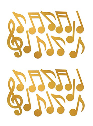 (Beistle 55295-GD, 24 Piece Foil Musical Note Silhouettes, 12