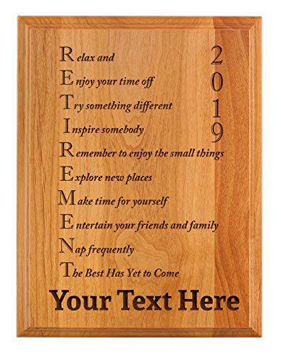 - Personalized Retirement Plaque 2019 Custom Name Acrostic Poem Retirement Gifts Women Men Retirement Party 7x9 Oak Wood Custom Engraved Plaque Wood
