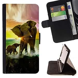 - Elephant Sunset Ocean Sun Summer Africa - - Prima caja de la PU billetera de cuero con ranuras para tarjetas, efectivo desmontable correa para l Funny HouseFOR Apple Iphone 5C