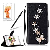 Girlyard For iPhone 5 / iPhone 5S / iPhone SE [Wrist Strap] Black PU Leather Shiny Diamond Crystal Flip Wallet Case Folding Stand Protective Case Cover with Magnetic Clasp and Card Holder Butterfly White Flower