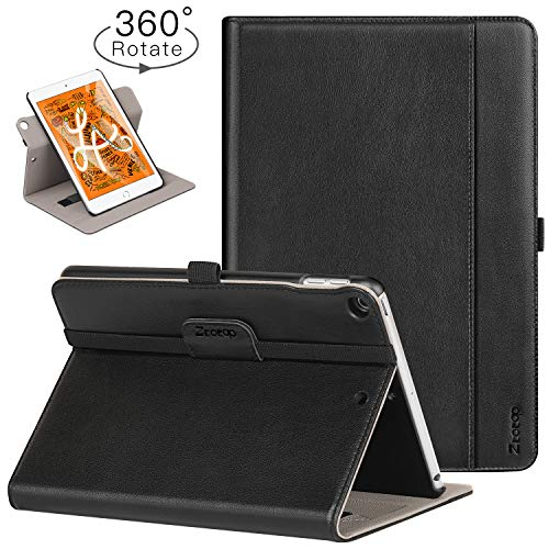 Ztotop iPad Mini 5 Case, [360 Rotating] Genuine Leather Folio Stand Case Cover with Multi-Angle Viewing, Pocket, Auto Wake/Sleep for iPad Mini 5th Gen 7.9-inch 2019 - Black