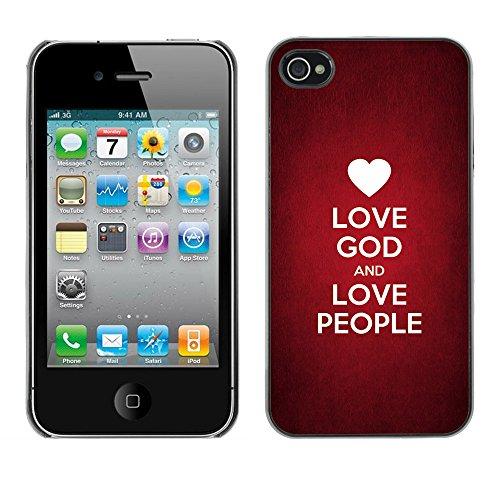 DREAMCASE Citation de Bible Coque de Protection Image Rigide Etui solide Housse T¨¦l¨¦phone Case Pour APPLE IPHONE 4 / 4S - LOVE GOD AND LOVE PEOPLE