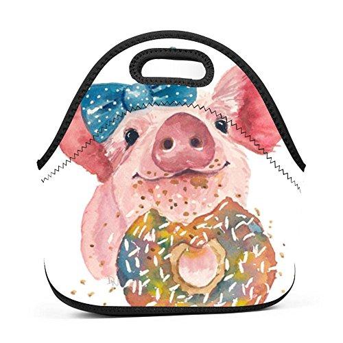 OUBAFun Neoprene Lunch Bag Cute Pig Doughnut Tote Handbag Lunchbox For School Work Office