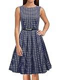 LUOUSE Sommer Damen Ohne Arm Kleid Dress Vintage kleid Junger abendkleid,DotNavyBlue,S