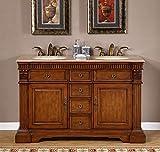 55'' Bathroom Furniture Travertine Top Double Sink Vanity Cabinet 181T