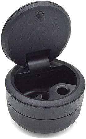 Qualit/äts-Schwarz Kunststoff Aschenbecher Kleiner Auto-Aschenbecher mit blauem LED-Licht QINJLI Tragbare Auto-Aschenbecher