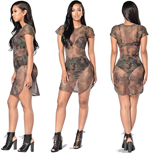 Dress for Women, Gallity Womens Sexy See-through Bodycon Camouflage Gauze Sheer Dress Beach Bikini Cover up Mini Dress (Camouflage, M) (Sheer Halter Camouflage)