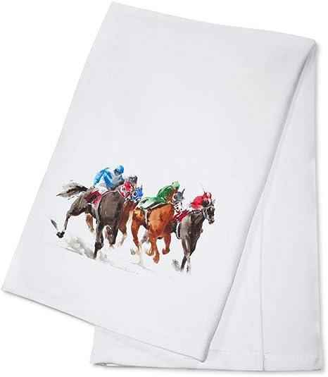 Amazon Com Horse Race Watercolor Illustration 9010198 100 Cotton Kitchen Towel Kitchen Dining