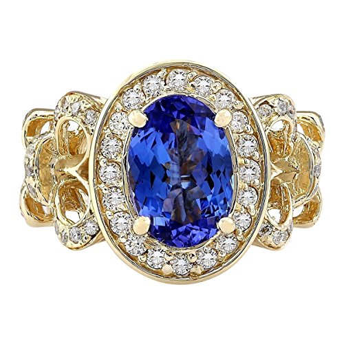 (3.93 Carat Natural Blue Tanzanite and Diamond (F-G Color, VS1-VS2 Clarity) 14K Yellow Gold Luxury Cocktail Ring for Women Exclusively Handcrafted in USA)
