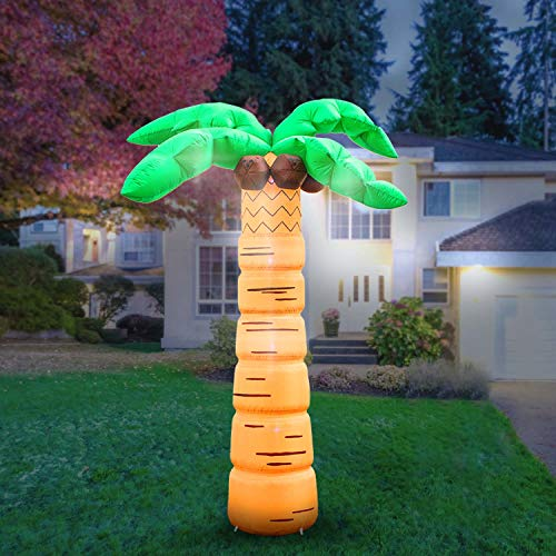 Holidayana 8-Foot Inflatable Palm Tree Decoration, Inflatable Luau Decoration Includes Built-in Bulbs, Tie-Down Points, and Powerful Built in Fan (Light Palm Tree Up)