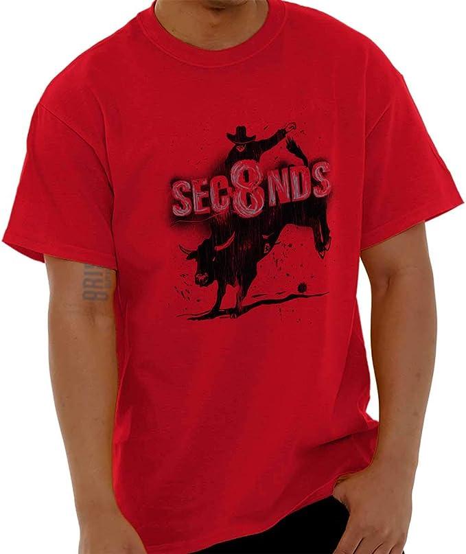 Eight Seconds - Camiseta de manga corta para hombre, diseño de bull montando en Rodeo - Rojo - Small: Amazon.es: Ropa y accesorios
