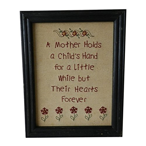 (CVHOMEDECO. Primitives Antique A Mother Holds a Child's Hand for a Little While but Their Hearts Forever Stitchery Frame Wall Mounted Hanging Decor Art, 11