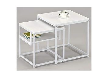 Meubletmoi Table Gigogne Carre Metal Blanc Bout De Canape