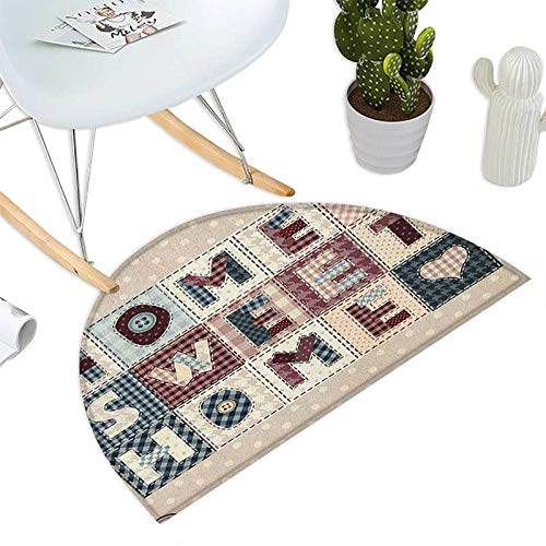 Home Sweet Home Semicircular Cushion Patchwork Style Composition with Letters on Retro Polka Dots Buttons Print Entry Door Mat H 35.4'' xD 53.1'' Multicolor