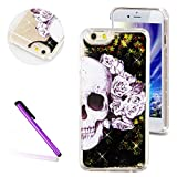 SE Cover iPhone 5S Liquid Cover EMAXELER Fashion Creative Design Luxury Bling Glitter Sparkle Hybrid Bumper Case with Liquid Infused with Glitter and Stars Cover for iPhone 5S/5 Skull Flower Black