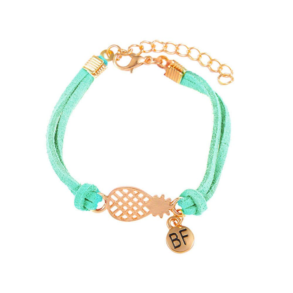 WoCoo Hollow Pineapple Letter BF Double Layer Bracelet(Mint Green)