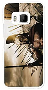 1120 - cool spata roman fighters shield army Design For htc One M9 Fashion Trend CASE Back COVER Plastic&Thin Metal - White