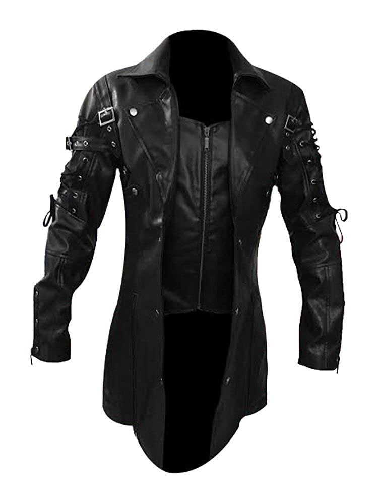 Olly And Ally Mens Real Black Leather Goth Matrix Trench Coat Steampunk Gothic L_T18_ALL_BLK