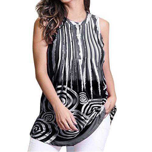 ANJUNIE Women Loose Chiffon Tank Tops,Casual O Neck Sleeveless Print Retro T Shirts(Black,M)