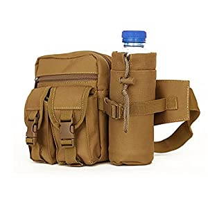 Hua Message Bag Multifunctional Water Resistant Waist Pack with Water Bottle Holder (The Bottle Is Not Included) for Running Hiking Cycling Camping Travel (Khaki)