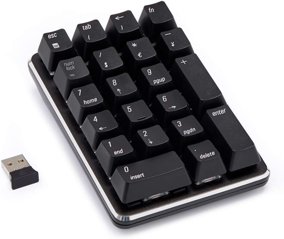 Mechanical Numeric Keypad Wireless Bluetooth Keypad GATERON Blue Switch 21 Keys Mini Numpad Portable Keypad Extended Layout Magicforce by Qisan for for Financial Cashier Securities-Black