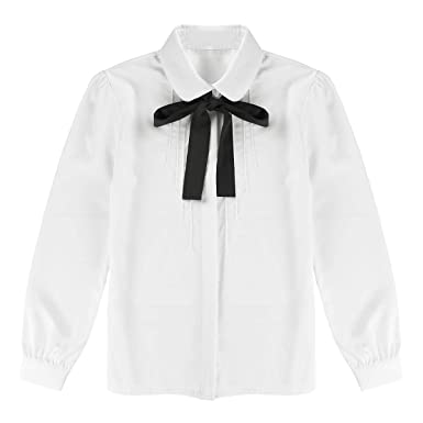 df6e589549 Alvivi Ladies Adult Ivory White Chiffon Bowtie Shirt Baby Collar Tops  Blouses OL Button-Down