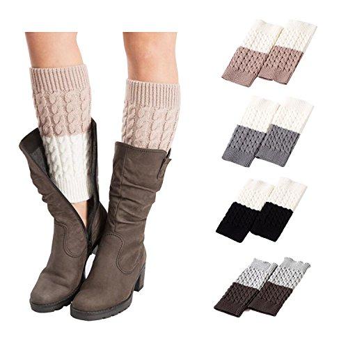 Bestjybt Womens Short Boots Socks Crochet Knitted Boot Cuffs Leg Warmers Socks (4 Pairs-Style L)
