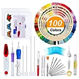 Embroidery Starter Kit Full Set - Including Magic Embroidery Pen Punch Needle,5 Pieces Bamboo Embroidery Hoops, 100 Color Threads,Embroidery Needles Stitching Punch Pen Set Craft Tool for Beginner (143 Pack)