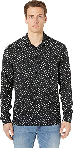 The Kooples Men's Men's Small Dot Print Shirt with Classic Collar, Black/White, Medium