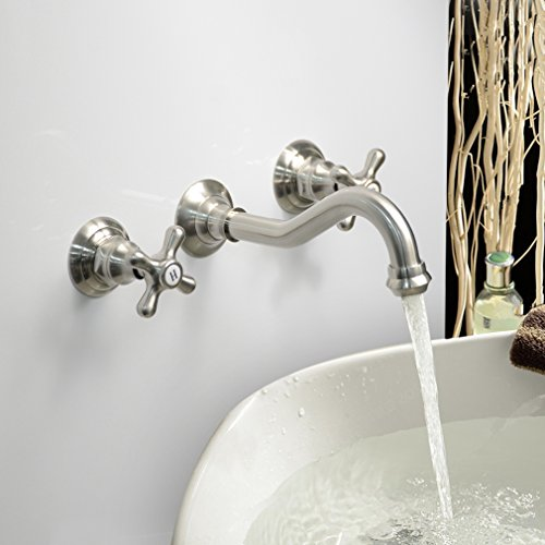 (LightInTheBox Modern Bathroom Sink Faucet Wall Mount bathtub faucets Cross 2 Handles Long Curve Spout Faucet Vessel Sink Bath faucet)