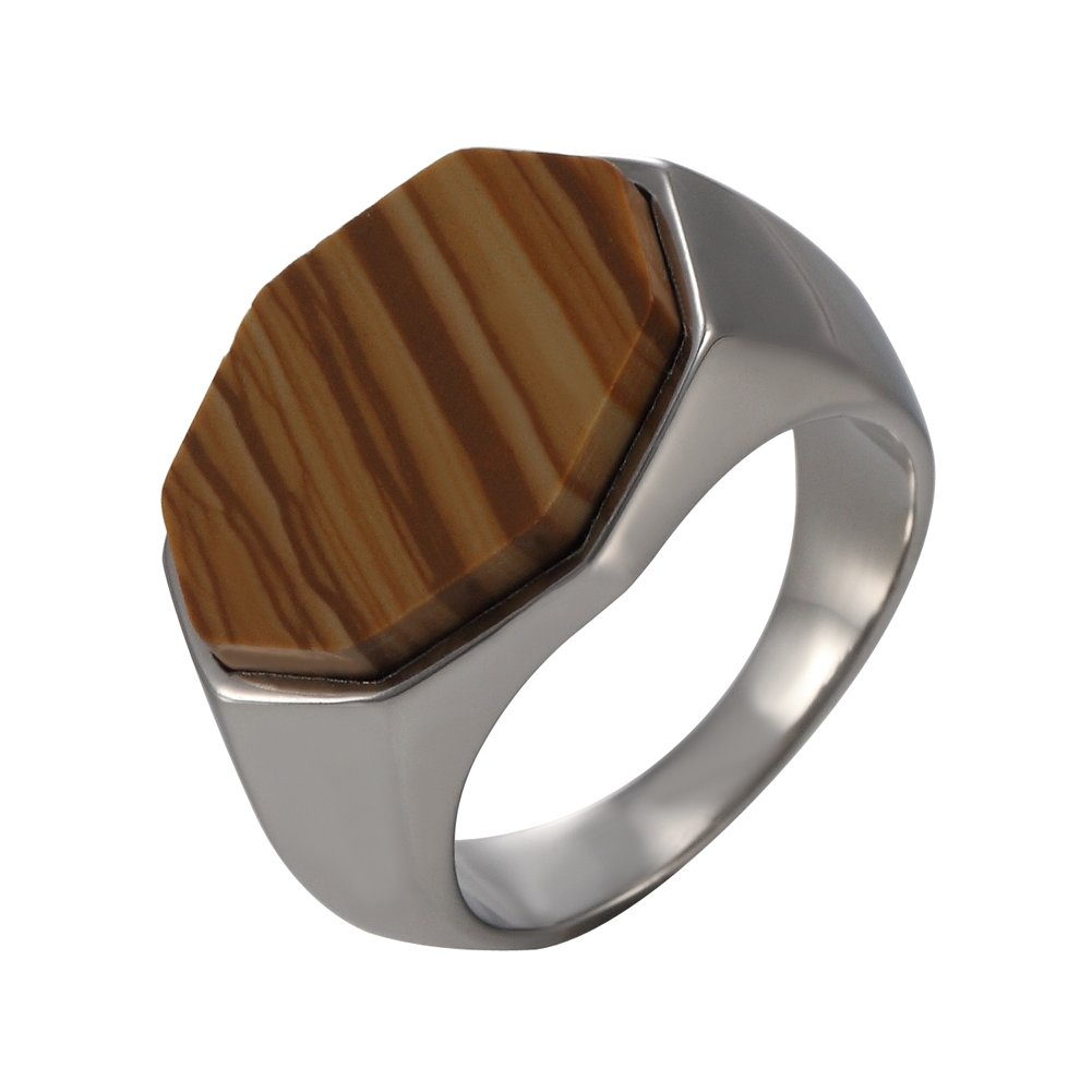 Classic Brown Tiger Eye Band silver Plated,sizes 8-12# MOWEN Mens Stainless Steel Ring