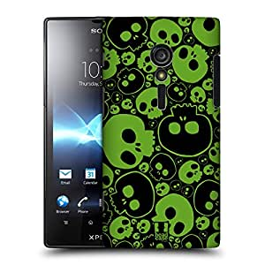 Head Case Designs Green Jazzy Skulls Hard Back Case Cover for Sony Xperia ion LTE LT28i
