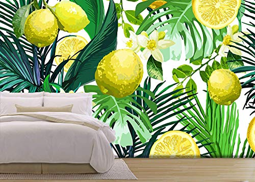 Vector Seamless Pattern of Lemon Flowers and Tropical Leaves on a White Background