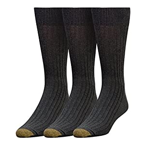 Gold Toe Men's Classic Canterbury Crew Socks, 3 Pairs, Grey Marl, Shoe Size: 6-12.5