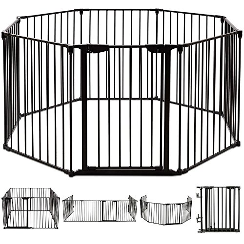 8 Panel Metal Gate Baby Pet Fence Safe Playpen Barrier Wall-mount Multifunction