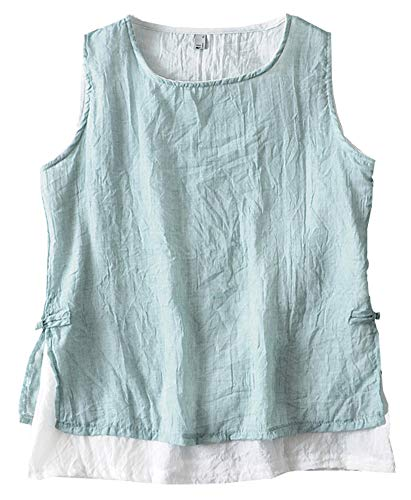 SCOFEEL Women's Sleeveless Lightweight Linen Summer Vest Tank Top Double-Layered Shirt Blue