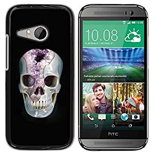Be-Star Único Patrón Plástico Duro Fundas Cover Cubre Hard Case Cover Para HTC ONE MINI 2 / M8 MINI ( Minerals Marie Skull Black Amethyst )