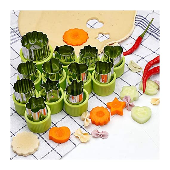 TIMGOU 12 Pcs Vegetable Fruit Cutter Shapes Set with Melon Baller Scoop and Cleaning Brush, Fruit and Mini Cookie Stamps Mold for Kids Crafts Baking Decorating Food-Green 2 12 Different Shape: There are 12 pcs different shape cutters in the package, contains shape of fish, rabbit, flower, duckling, star, strawberry, mushroom and so on. Come with melon baller and cleaning brush: The stainless steel fruit scoop helps to make ball shape fruit to decorate your made dish, small brush to clean the mold in hard reaching corner. Simple and extensive use: Just press the twist gently, you can get a pattern you want. Widely used for sugar cake, DIY biscuits, chocolate, mini pie, cookies, make fruit and vegetables into multiple shapes for Salad or fruit tray, suit for kids having fun in DIY.