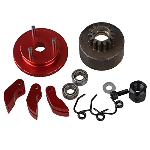 Aluminum Clutch Bell - BQLZR Red Aluminum Upgrade D10201 Flywheel with Clutch Bell Kit Set for RC1:8 Model Car 10 in 1 Set
