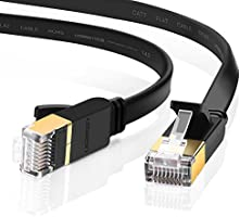 UGREEN Ethernet Cable Cat7 RJ45 Network Patch Cable Flat 10 Gigabit 600Mhz Lan Wire Cable Cord Shielded for Modem...