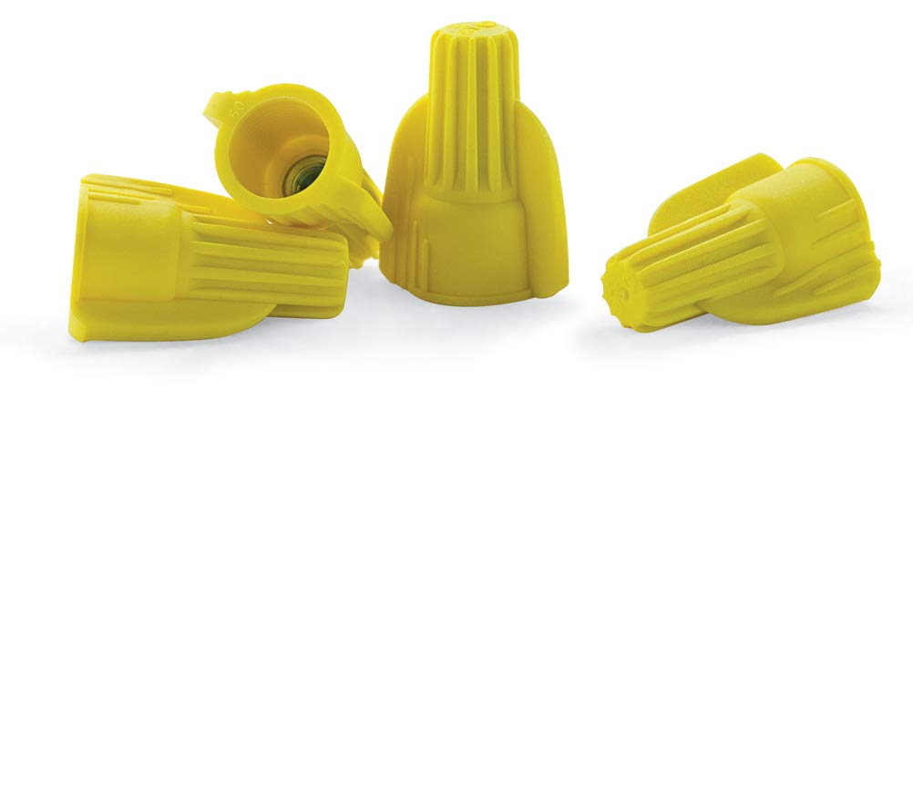 500 PCS Yellow Winged Wire Connectors, Easy Twist-On Ribbed Cap - UL Listed and CSA Certified
