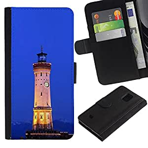 Billetera de Cuero Caso Titular de la tarjeta Carcasa Funda para Samsung Galaxy S5 Mini, SM-G800, NOT S5 REGULAR! / Architecture Retro Ligthouse Sea / STRONG