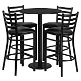 Kitchen Bar Table Set Flash Furniture Round Black Laminate Table Set with 4 Ladder Back Metal Bar Stools, 30