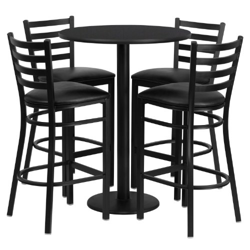 Flash Furniture 30'' Round Black Laminate Table Set with 4 Ladder Back Metal Barstools - Black Vinyl - Black Desk Laminate